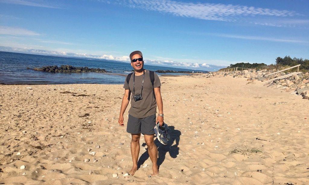 Smidstrup Strand, Sand und Meer was will man mehr. Man am Strand und freut sich.