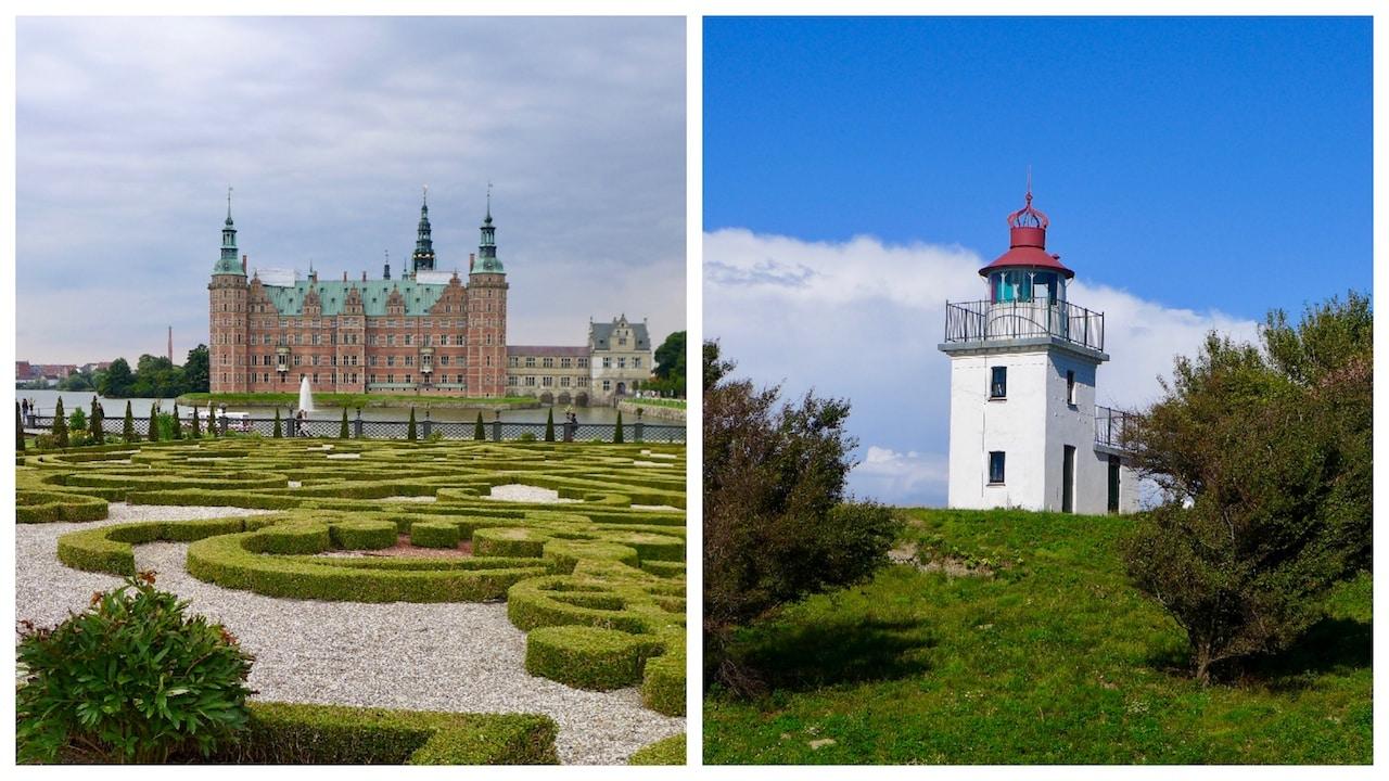 Der Spodsbjerg Leuchtturm von Hundested und das Schloss Frederiksborg von Hillorød
