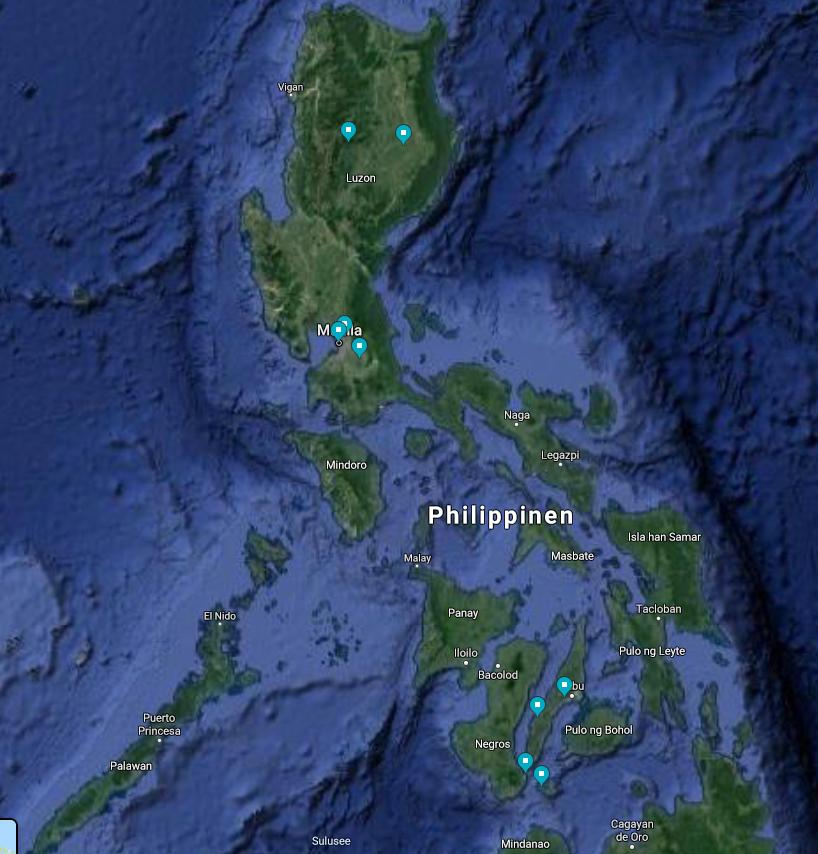 Screenshot unser Philippinen Reiseroute