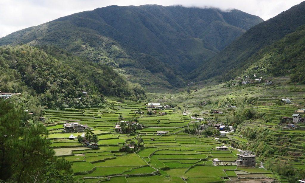 Die Reisterrassen von Hapao von einem Viewpoint aus fotografiert