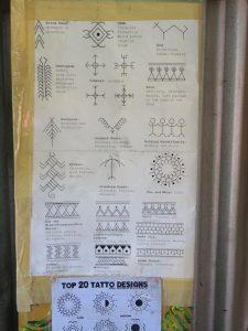 Ein Poster mit den Tattoo-Symbolen von Apo Whang-Od