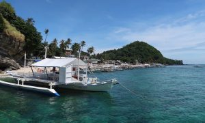 Turtlemania auf Apo Island. Hier ist der Hauptstrand mit einigen Resorts und Bangkas