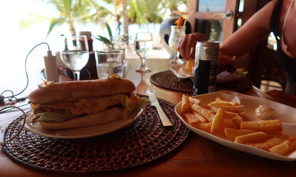 Burger, fancy Hot Dog n Fries at Salamandas Restaurant